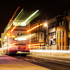 Bus Light Rays by Andro Andrejevic - City,  Street & Park  Street Scenes ( light painting, night photography, light trails, bus trails, night shoot )
