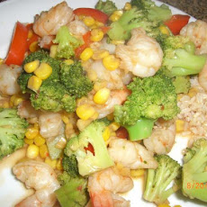 Gingered Shrimp With Corn and Broccoli