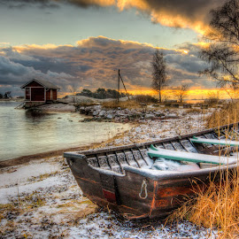 Boat by Kaj Andersson - Transportation Boats ( clouds, finland, sea, hanko, boat )