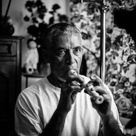 Playing The Recorder by Saul Suazo Jr. - People Portraits of Men ( music, black and white, fun, photography )
