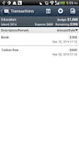 Screenshot of Envelope Budget