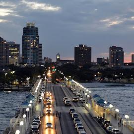 St Petersburg, FL by Mary Beth Schepper - City,  Street & Park  Skylines ( water, skyline, cityscape, dusk )