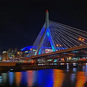 Night of the Zakim by Jeff Stallard - Buildings & Architecture Bridges & Suspended Structures ( boston, boston garden, charles river, zakim, bridge, massachusetts )