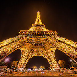 Eiffel Tower by Michael Wiejowski - Buildings & Architecture Public & Historical ( paris, tower, europe, eiffel, night, france, travel, architecture,  )