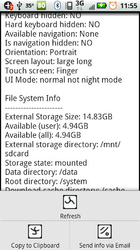 System Information Text