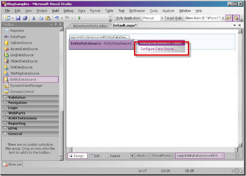 Step003a - EntityDataSource - Configure Data Source