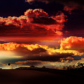 Mother Nature's Jewels by Julie Dant - Landscapes Sunsets & Sunrises ( cloud formations, clouds, orange, blue, colorful clouds, sunsets, yellow, mother nature, golden hour, sunset, sunrise )