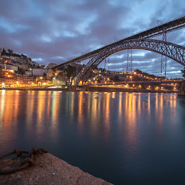 by Rossana Ferreira - Buildings & Architecture Bridges & Suspended Structures ( water, ponte d. luiz, international photography day, dawn, oporto, river douro, portugal, bridges, 5 out of 7 )