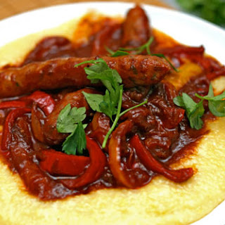 Pepper and Sausage Ragu with Polenta