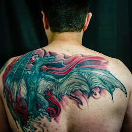 The Man With The Dragon Tattoo by Kim Stecina - People Body Art/Tattoos ( fantasy, tattooed, dragons, art, dragon, inked, tattoo, inkedman, people, fire, portrait, ink )