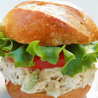 Chicken Salad Sandwich with Garlic and Herbs Cheese