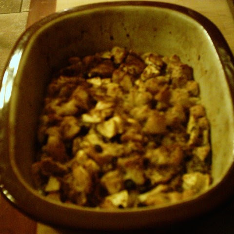 Bread Pudding With Brown Sugar, Raisins, And Apples