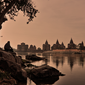 Far from the madding crowd. by Sridhar Balasubramanian - Public Holidays Other ( temple, orchha, nature, india, betwa, bliss, chhatris, river )
