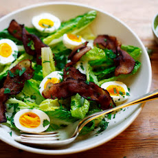 Hearts of Romaine Salad with Bacon, 5-Minute Eggs, and Pesto Dressing