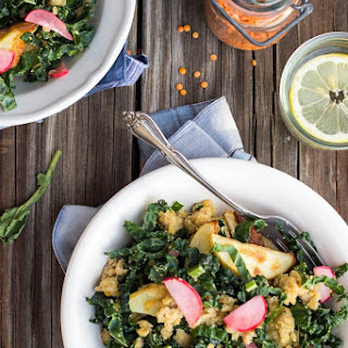 Shredded Kale Salad with Red Lentils, Roasted Potatoes & Pickled Radishes