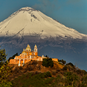 `Church and Volcano by Cristobal Garciaferro Rubio - Landscapes Mountains & Hills ( church, cholula virgen de los remedios, snowy volcano, smoking volcano )