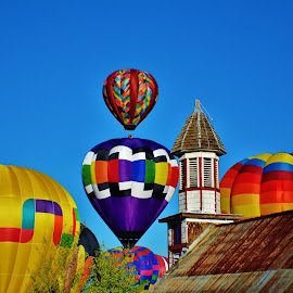BALLOON FESTIVAL  by Drew Mackey - Landscapes Travel ( small town, church, colorado, festival, pagosa springs, balloon )