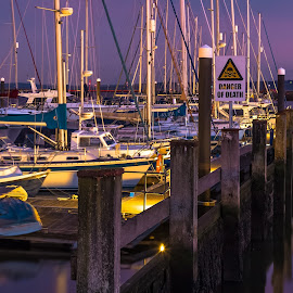 Danger of Death by Stephen Bridger - City,  Street & Park  Neighborhoods ( uk, harbor, harbour, boats, travel, boat, sailboat, united kingdom, sign, england, sailboats, lymington, yacht club, travel photography, britain )