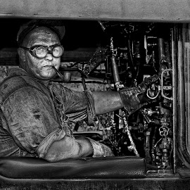 Working Man by Nathanial Brown - People Portraits of Men ( coal, steam train, railroad, dirty, trains, man )