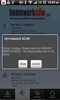 Screenshot of My HomeworkNOW & School Alerts