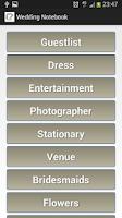 Screenshot of Wedding Notebook