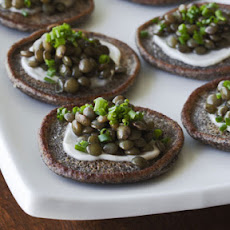 Beluga Lentil Caviar on Blini
