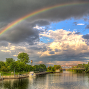 by Blaine Stauffer - City,  Street & Park  Vistas ( clouds, waterscape, canal, rainbow,  )