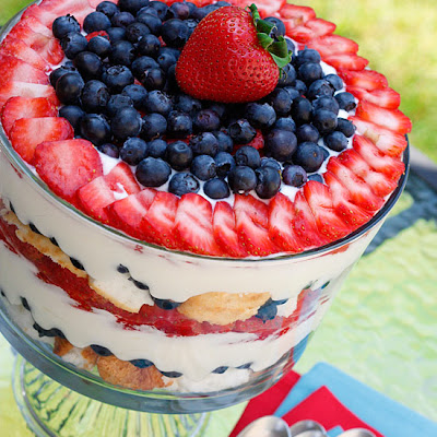 Red, White and Blueberry Trifle
