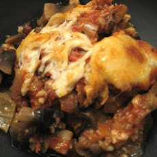 Baked Eggplant With Portabellas and Tomato Sauce (Vegetarian)