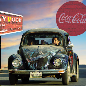 The Drive to Baywood by Joerg Schlagheck - Digital Art Places ( surreal., coca cols, old, license plate, baywood, volkswagen,  )