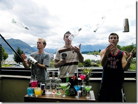 From left Jason Clark, Adam Marshall and Ben Eastwood of Wanaka practice mixing cocktails on Sunday 050205