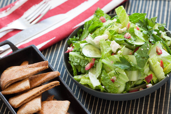 Greek Salad with Feta Cheese & Toasted Whole Wheat Pita Chips Recipe ...