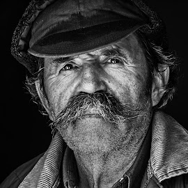 Janos by Adam Mezei - People Portraits of Men ( old, black and white, portrait, man, eyes,  )