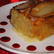 White Chocolate Bread Pudding With Raspberry and White Chocolate