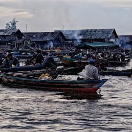 transportation and floating market by Hartono Wijaya  - Transportation Boats ( market, indonesia, tourism, transportation, boat, culture, banjarmasin )