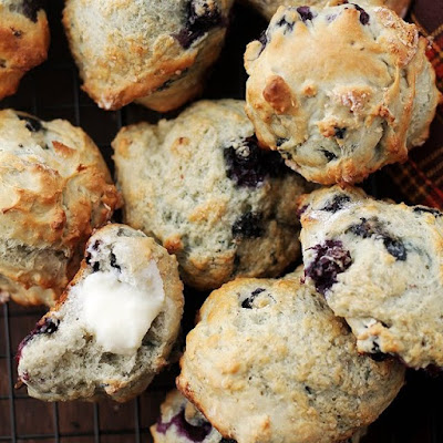 Blueberry Scones + Blueberry Cream Cheese Frosting