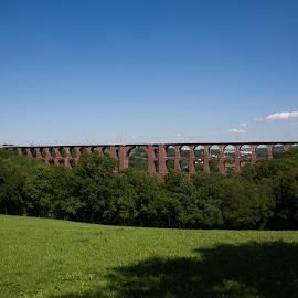 Goeltsch Viaduct In Summer by Christian Windisch - Buildings & Architecture Bridges & Suspended Structures ( red, blue sky, blue, green, brick, cloud, trees, summer, bricks, bridge, sunlight,  )