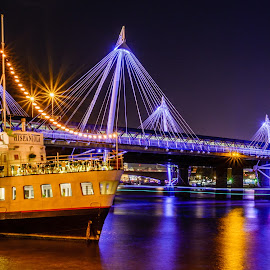 Hispaniola by Colin Harley - Buildings & Architecture Bridges & Suspended Structures ( water, sigma, color, d5200, train, long exposure, night, bridge, nikon, boat, light, river )