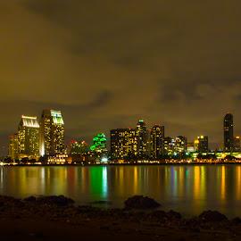 San Diego by Richard Duerksen - City,  Street & Park  Night ( clouds, lights, san diego, ca, san diego night, night )