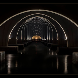 The Catherdhal by James Eickman - Buildings & Architecture Bridges & Suspended Structures ( lights, night photography, bridge, nightscapes, black )