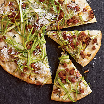 Flatbread with Pancetta, Mozzarella, and Asparagus