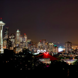 Seattle at Night by John Williams - City,  Street & Park  Skylines ( washington, seattle, nightscape )