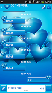 GO SMS Blue Hearts Theme - screenshot