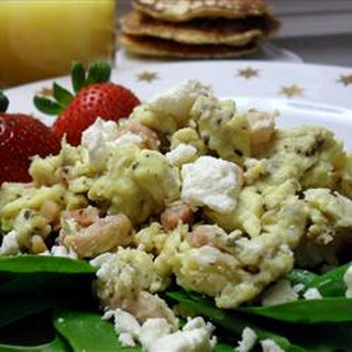 Ham, Basil, and Feta Scrambled Eggs