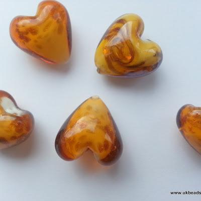 Lampwork Heart Beads Tortoise Shell   x8