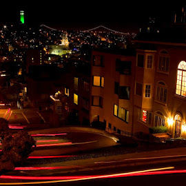 San Francisco Lombard street at night. by Gale Perry - City,  Street & Park  Historic Districts