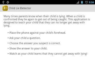 Screenshot of Child Lie Detector