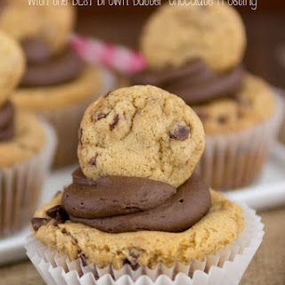 Chocolate Chip Cookie Cupcakes {brown butter chocolate frosting}