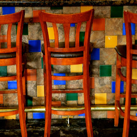 Three Chairs by Kathleen Koehlmoos - Artistic Objects Furniture ( three chairs, colorful photo, keep it simple, colorful, la pinata, bar chairs )