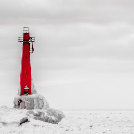 Lighthouse  by Calvin Morgan - Buildings & Architecture Other Exteriors ( lake michigan, winter, snow and ice, lighthouse, nikon d7000 )